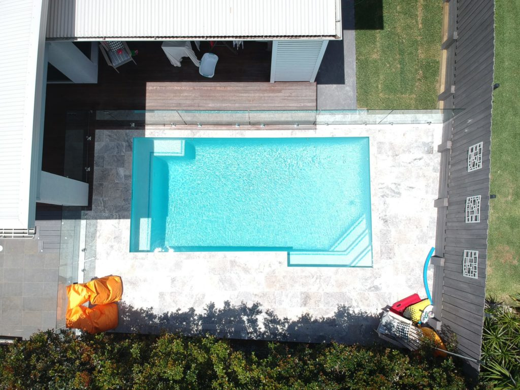 birds eye view of a pool